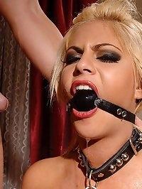 Blond Valentina gets bound & pisses