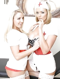 These nurse sluts love to tease their patients and make..