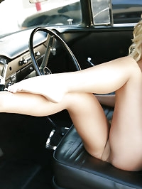 Sexy 18 yr old Ally Kay Pedal Pumps in a Classic Chevy