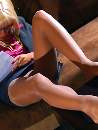Business lady sexy feet in pantyhose