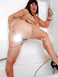 Woman gets a little wet