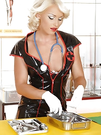 Nasty hot nurse Kathia masturbates