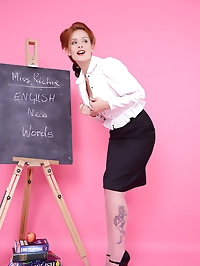 Strict teacher Elle Richie in black stocking stripteases..