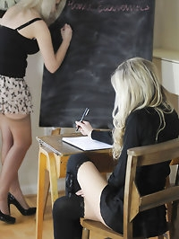 Busty teacher leasbian Miss Holli and Sophie Barrett
