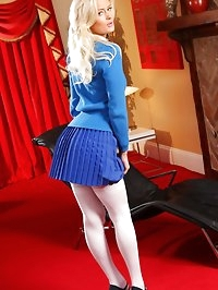 Emma D gives a sexy striptease out of her college uniform.