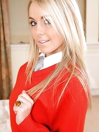 Gorgeous Becky R slips out of her red college uniform..