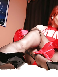 Hot Nadja in red Dress and black fully fashioned Nylons on..