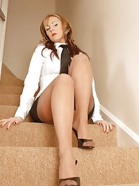 Clair - Wanking on the stairs...